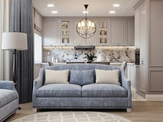 Дизайн проект квартиры в стиле современная классика 130 м² Гостиная в классическом стиле от Бюро интерьеров ICON Классический