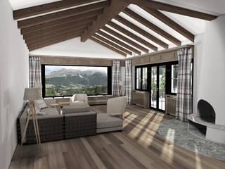 Umbau + Ausstattung eines Ferienhauses Ottagono+Rechsteiner Interior AG Rustikale Wohnzimmer