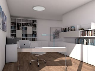 Interior Design + Ausstattung für einen Neubau Ottagono+Rechsteiner Interior AG Moderne Arbeitszimmer Weiß