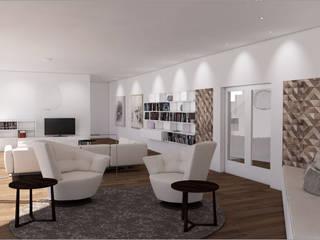 Interior Design + Ausstattung für einen Neubau Ottagono+Rechsteiner Interior AG Moderne Wohnzimmer Weiß