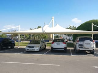 Car Parking Shades, Tensile Structures and Fabric Sun Shades by Al Fares International Tents Industrial