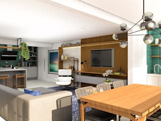 Arquiteto Virtual - Projetos On lIne Ruang Keluarga Gaya Industrial Kayu Wood effect