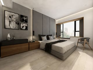Apartment in King's Park Hill Minimalist bedroom by ED Design Limited Minimalist