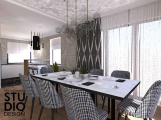 Studio4Design Modern dining room Wood Grey