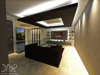 sala tv y recamara proyecto O20 Salones modernos de Dehonor Arquitectos Moderno