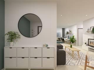Design Interior Apartment Scandinavian Style TEKART. Koridor & Tangga Gaya Skandinavia