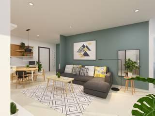 Design Interior Apartment Scandinavian Style TEKART. Ruang Keluarga Gaya Skandinavia