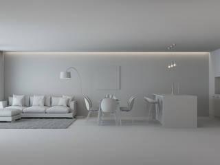 MUDAME Ruang Keluarga Minimalis Beton White