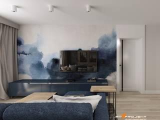 Projekt mieszkania w Pruszkowie. Skandynawski salon od MYSPROJEKT Marek Myszkowski Skandynawski