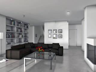 Black/white/grey Minimalistyczny salon od Architekt Marcin Włodarski Minimalistyczny