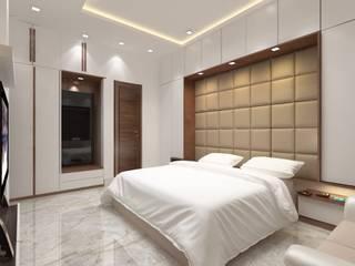 GUEST ROOM DESIGN I DECORE INTERIORS Small bedroom Engineered Wood Blue