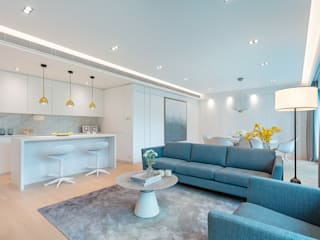 An All-White Open Living Space - The Legend, Hong Kong Grande Interior Design Minimalist living room White