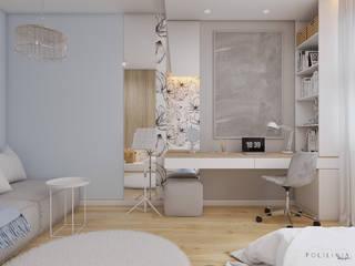 Pokój dziewczynki - dom Mikołów Nowoczesny pokój dziecięcy od Polilinia Design Nowoczesny
