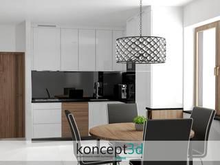 Projekt białej kuchni z czarnym blatem od koncept3d