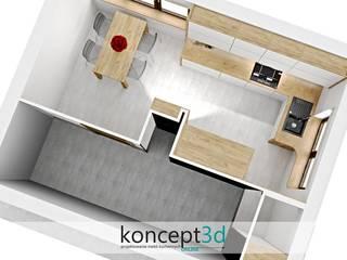 Projekt białej kuchni w drewnianej ramie od koncept3d