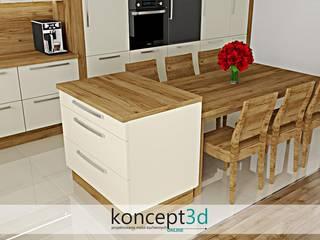 Projekt kremowej kuchni z drewnem od koncept3d