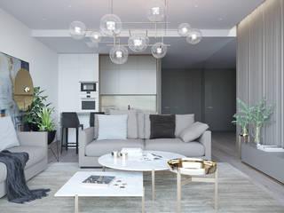 Оксана Мухина Salones de estilo minimalista