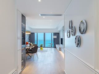 A Contemporary-Elegant Gallery - Residence Bel-Air, Hong Kong Grande Interior Design Modern corridor, hallway & stairs White