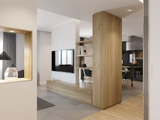 degma studio Modern Corridor, Hallway and Staircase Concrete