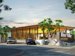 River Valley Clubhouse - Medan Bral Studio Architecture Balkon, Beranda & Teras Tropis