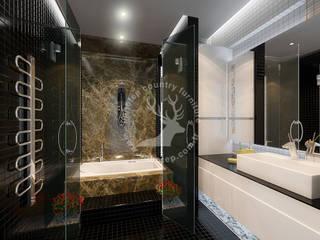 İMHOTEP COUNTRY FURNİTURE Proje Tasarım&Aydınlatma Modern bathroom Marble Brown