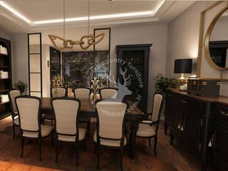 İMHOTEP COUNTRY FURNİTURE Proje Tasarım&Aydınlatma Dining roomTables Solid Wood Beige