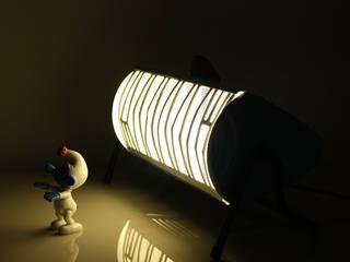 Lampe bleue design issue d'un ancien radiateur vintage Radiola des années 60. ArtJL SalonEclairage Fer / Acier Bleu