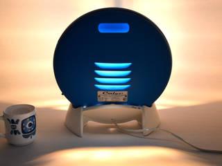 Lampe bleue design vintage upcycling Calor Congo ArtJL SalonEclairage Fer / Acier Bleu