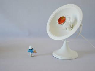 Lampe blanche vintage design upcycling issue d'un ancien radiateur Calor années 50 60 ArtJL SalonEclairage Fer / Acier Blanc