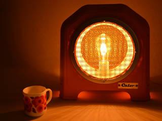 Lampe art deco orange blanche Bakelite Calor made in France ArtJL SalonEclairage Fibre naturelle Orange