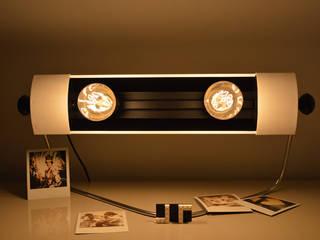 Lampe blanche Design issue d'un ancien radiateur de marque PRL des années 60. ArtJL SalonEclairage Fer / Acier Blanc