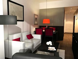 REHABILITACIÓ D'UN EDIFICI ALS JARDINETS DE GRÀCIA, 15 APARTAMENTS, (PASSEIG DE GRÀCIA 128) Salones de estilo moderno de FARRIOL i COL.LABORADORS arquitectes Moderno