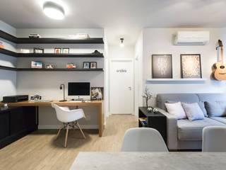Apê Nanquim - apartamento das irmãs Estúdio Dozi Corredores, halls e escadas modernos