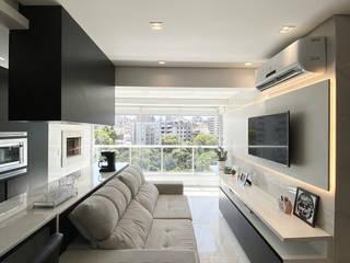 Apê Turmalina - apartamento para jovem publicitária Estúdio Dozi Salas de estar minimalistas