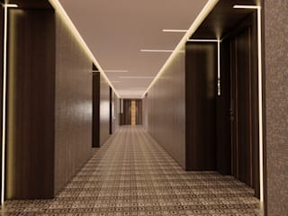 Condo Penthouse Interior Design Modern corridor, hallway & stairs by TheeAe Architects Modern