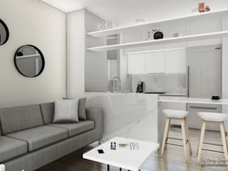 Vida Arquitectura Modern living room Marble White