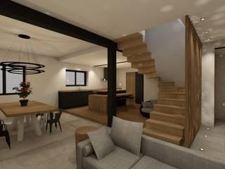 Agencement SALON/CUISINE/ENTREE par ILLU DESIGN ARCHITECTURE