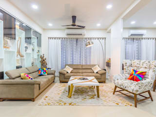 Luxurious 4BHK Interiors at Gala Marvella Modern living room by HGCG Architects Modern