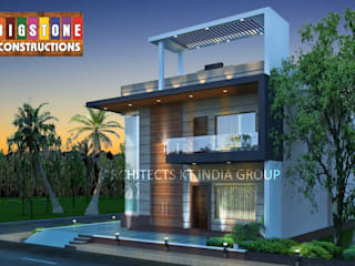 exterior 3d view of our project ARCHITECTS KT INDIA GROUP Modern corridor, hallway & stairs Concrete Brown