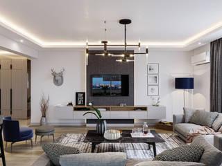 Çalık Konsept Mimarlık Sala de estarTV e mobiliário Cinza