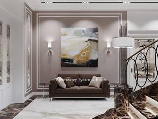 Архитектурное Бюро 'Капитель' Classic style corridor, hallway and stairs Marble Brown