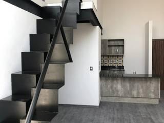 Escaleras de papelillo para estudio en Torre WIT Guadalajara c05 herrería Escaleras Metal Negro