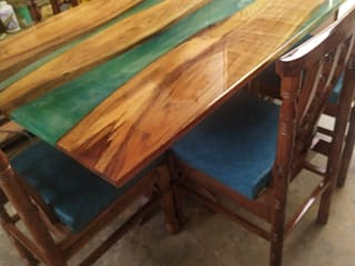 Handcrafted Custom Designed Epoxy Resin Dining Table Aura Glow Interio Dining roomTables Wood Green