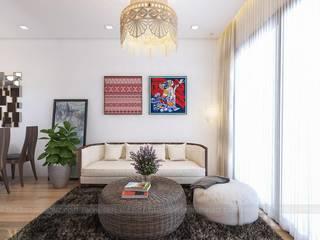 Mẫu thiết kế căn hộ chung cư La Casta 70m2 căn 2 phòng ngủ Công ty nội thất ATZ LUXURY Living roomAccessories & decoration