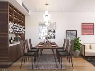 Mẫu thiết kế căn hộ chung cư La Casta 70m2 căn 2 phòng ngủ Công ty nội thất ATZ LUXURY Dining roomAccessories & decoration Chất xơ tự nhiên