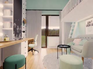 Pokój młodzieżowy dla dziewczyny z łóżkiem na antresoli od Projektowanie Wnętrz Online Nowoczesny