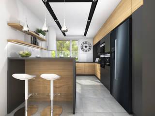 Kuchnia w czerni i drewnie styl nowoczesny Nowoczesna kuchnia od Projektowanie Wnętrz Online Nowoczesny