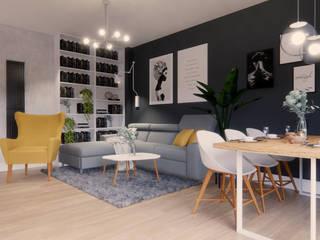 Funkcjonalny salon z kuchnia IKEA Nowoczesny salon od Projektowanie Wnętrz Online Nowoczesny