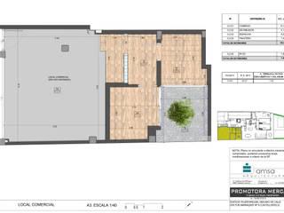 Edificio plurifamiliar más local comercial en Castelldefels Estudios y despachos de estilo moderno de AMSA Arquitectura SLP Moderno