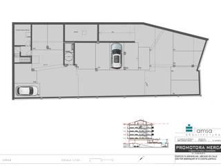 Edificio plurifamiliar más local comercial en Castelldefels Garajes de estilo moderno de AMSA Arquitectura SLP Moderno